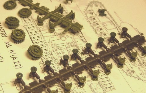 not on track yet! the many bogie assemblies of the Airfix Churchill